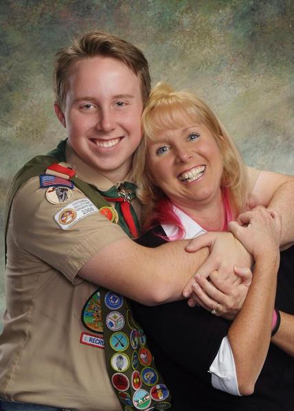 Eagle Scout Nick hugging Mom 2012