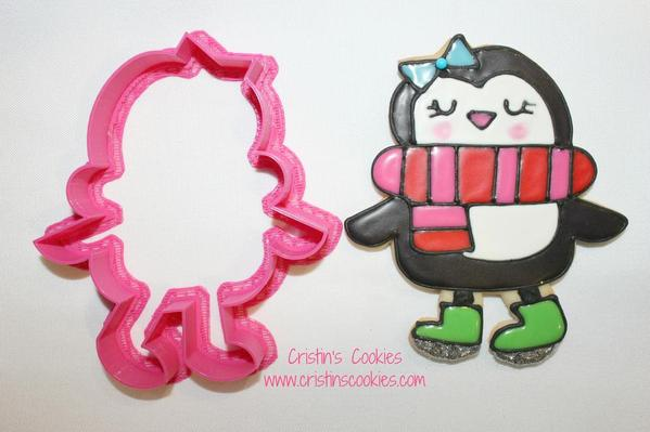 Penguin Skating Cookie Cutter by Cristin's Cookies b