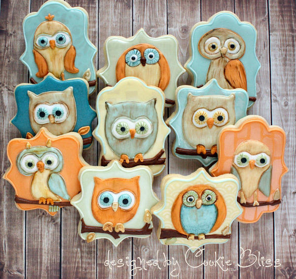 owls on wood background Cookie Bliss - Laurie 9