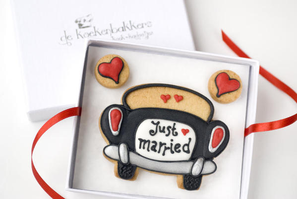 Koekjeskaart just married 2