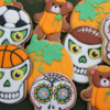 Sporty Sugar Skulls and Pumpkin Teddy Bears: Cookies and Photo by Montreal Confections