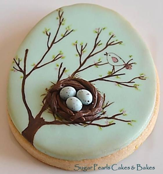 Spring Bird Nest on Egg - Sugar Pearls Cakes and Bakes - 7