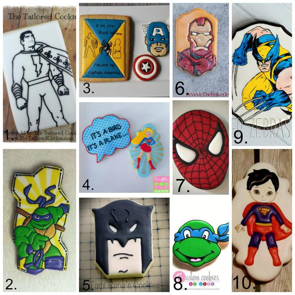 Super Hero Cookies Collage