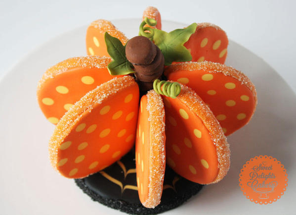 3-D Halloween Pumpkin Cookie - Nisha Fernando at Sweet Delights Cakery- 3-D