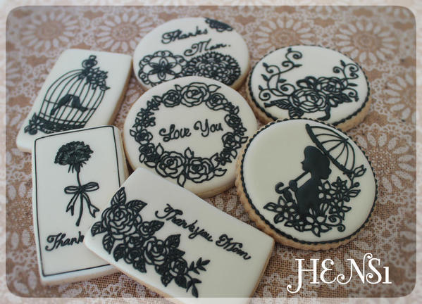 3 - Black and White Mothers Day Cookies by HENS1