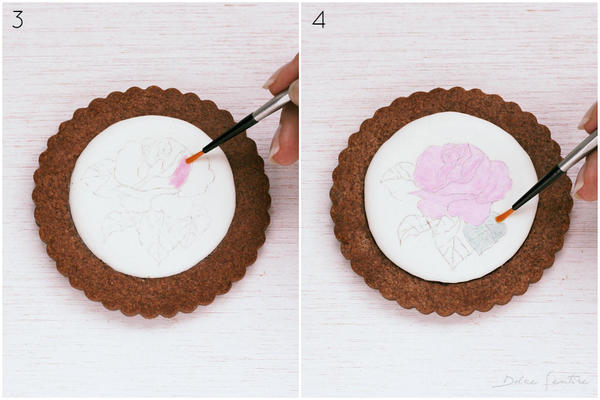 Colouring and shading flowers- Handpainted Rose Cookie [Step 3-4)