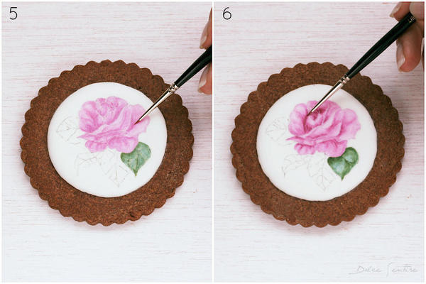 Colouring and shading flowers- Handpainted Rose Cookie [Step 5-6)