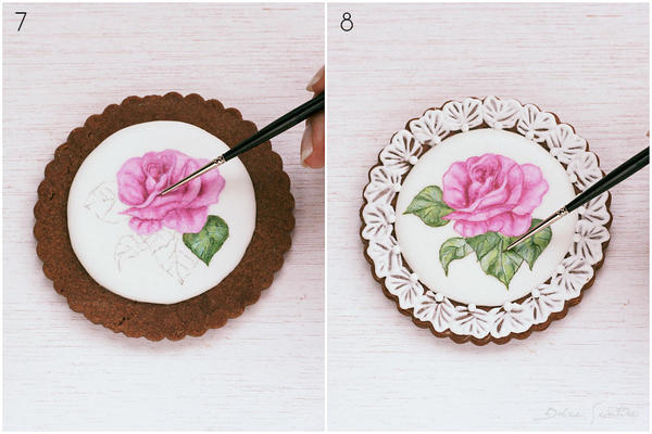 Colouring and shading flowers- Handpainted Rose Cookie [Step 7-8)
