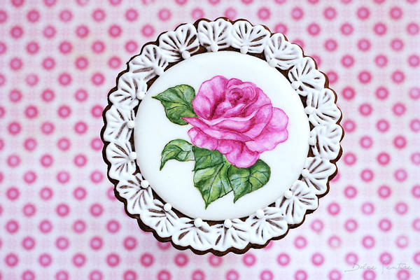 Handpainted Rose Cookie