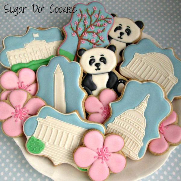 sugar cookies decorated custom royal icing frederick md cherry blossom flower panda monument white house capitol capital washington dc