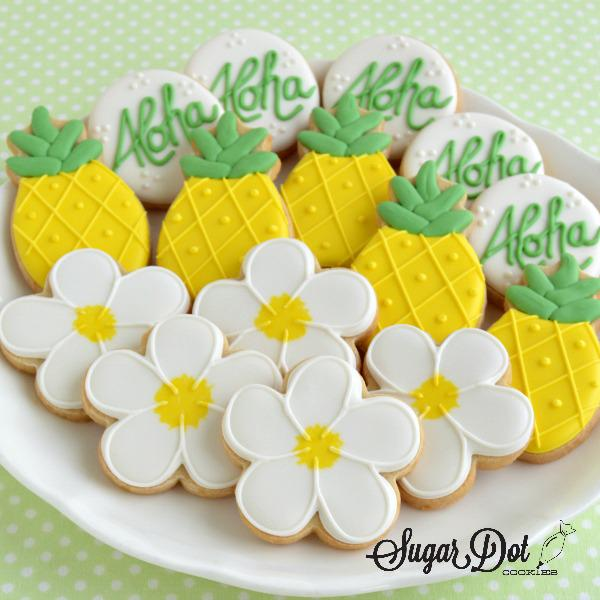 sugar cookies decorated royal icing custom hawaii aloha pineapple flower frederick md maryland