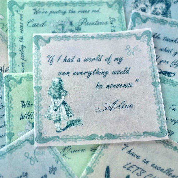Edible Alice in Wonderland Quotes in Soft Pastels