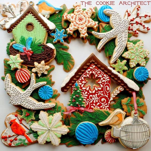 #8 - Christmas Bird Wreath by The Cookie Architect