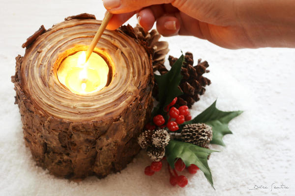 holiday cookie wood candleholder