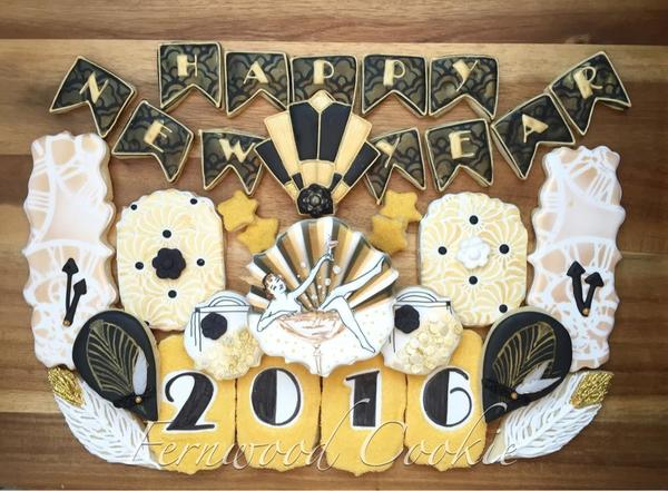#2 - Art Deco-Inspired New Year 2016 by Fernwood Cookie