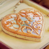 Mother-of-Pearl and Filigree Heart Locket Cookie Close-up: Photo and Cookie by Honeycat Cookies