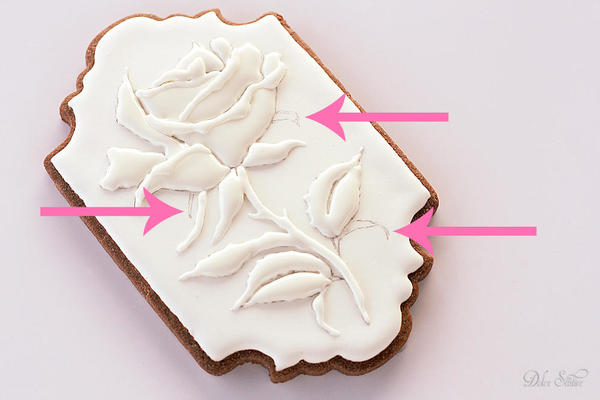 Piping Royal Icing Rose-unpiped parts of the rose: