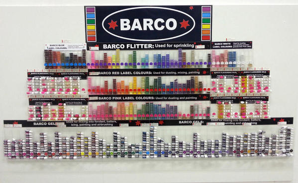 Barco food color display at cake supply shop