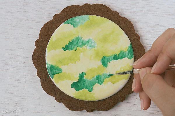 Applying dark green colour:
