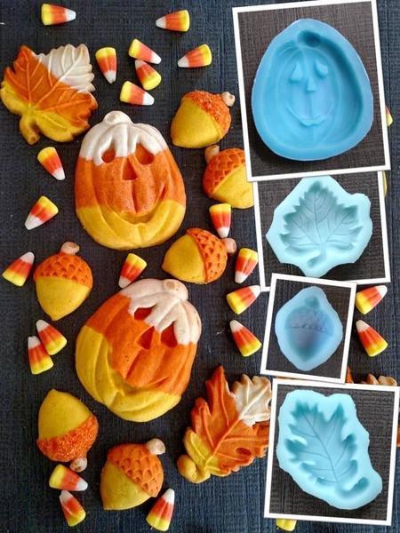candy corn pumpkin acorn maple oak collage crop
