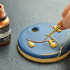 Painting Branches with Dark Gold Luster: Photo and Cookie by Honeycat Cookies
