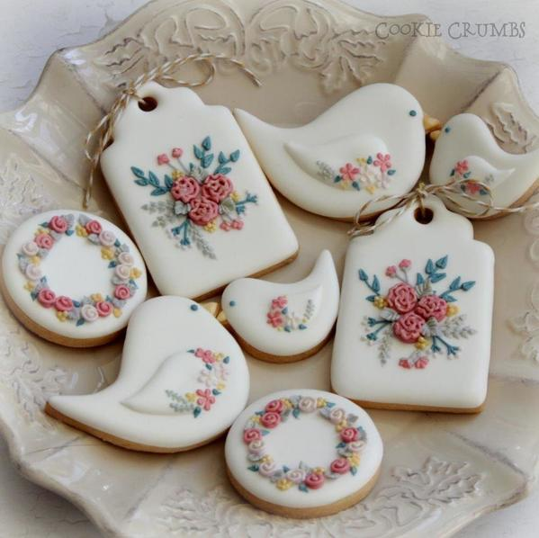 #8 - Bird and Floral Cookies by mintlemonade (cookie crumbs)