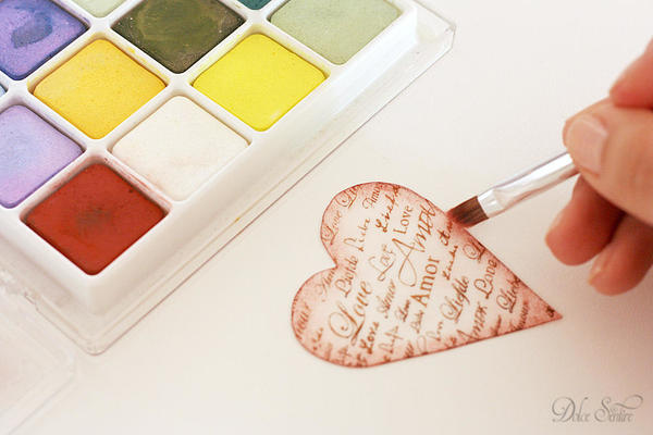 Aging wafer paper heart: