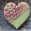 Green Heart with SugarVeil® Lace: Cookie and Photo by SugarVeil®
