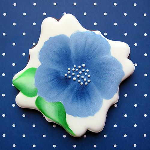 blue one stroke flower_s_square