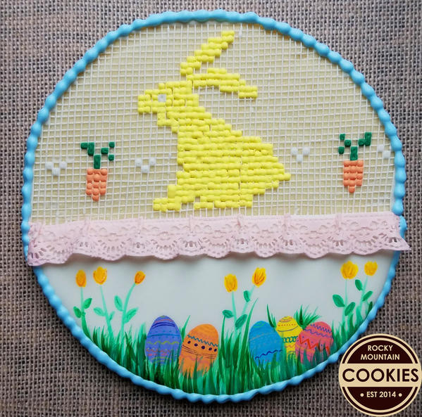 Cross Stitch Bunny with lace 3.11.17