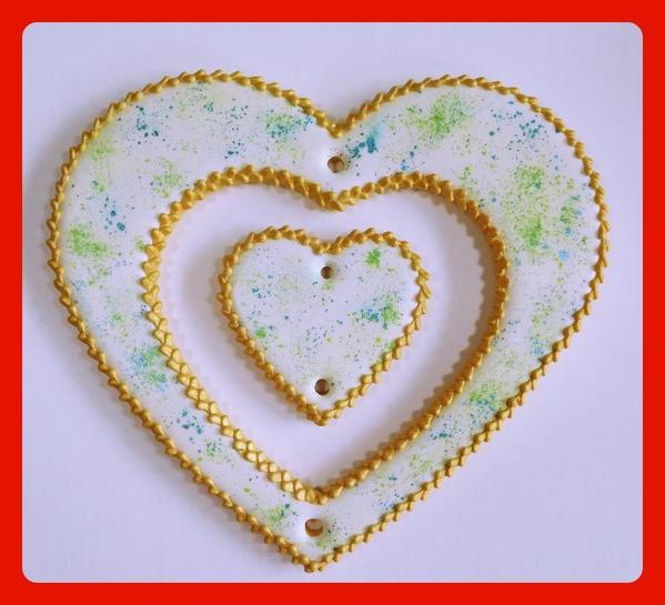 Heart Cookies with Piped and Painted Border