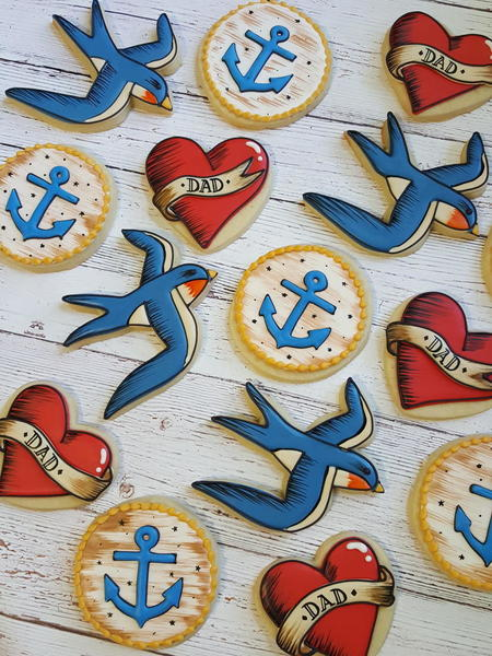 #5 - Old-School Tattoo Anchors, Swallows, and Hearts by Sweethart Baking Experiment
