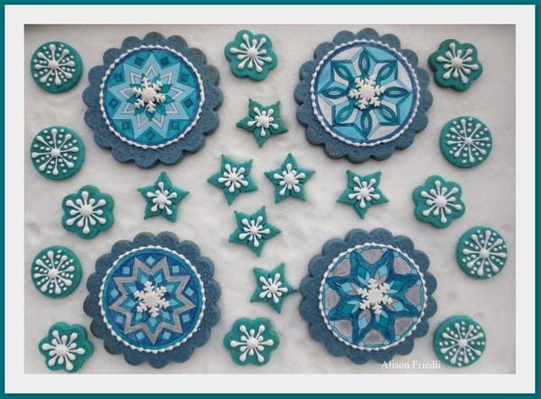 Snowflakes mandalas con sello agua