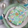 """Deck the Halls"" Prettier Plaques Cookies - Retro Colors, Close-up: Cookies and Photo by Julia M Usher; Design by Julia M Usher in Partnership with Confection Couture (aka Stencil Ease)"
