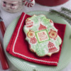 """""""Deck the Halls"""" Prettier Plaques Cookie - Traditional Colors: Cookie and Photo by Julia M Usher; Design by Julia M Usher in Partnership with Confection Couture (aka Stencil Ease)"""