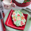 """""""Deck the Halls"""" Prettier Plaques Cookie - Traditional Colors, Close-up: Cookie and Photo by Julia M Usher; Design by Julia M Usher in Partnership with Confection Couture (aka Stencil Ease)"""