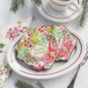 """""""Season's Greetings"""" Prettier Plaques Cookies: Cookies and Photo by Julia M Usher; Design by Julia M Usher in Partnership with Confection Couture (aka Stencil Ease)"""