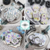 November Prettier Plaques Releases - Collage: Cookies and Photo by Julia M Usher; Stencil Design in Partnership with Confection Couture Stencils