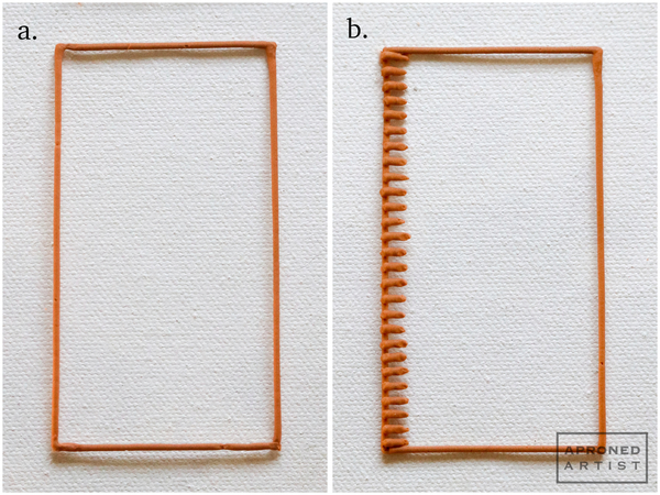 Tray Steps a, b: Begin Basketweave