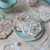 Both Seas the Day Dynamic Duos Sets in Use with Chunky Knots - Closer View: Cookies, Knots, and Photo by Julia M Usher; Stencils Designed by Julia M Usher in Partnership with Confection Couture Stencils