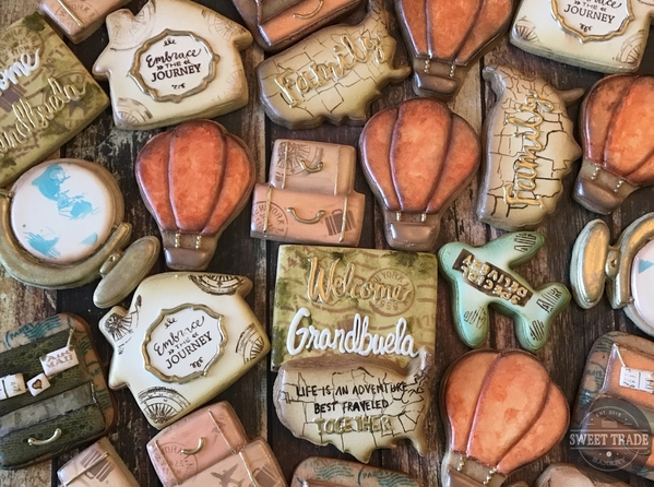 #3 - Vintage Travel-Themed Cookies by Doshia Freeman