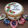Examples of Matyó Embroidery: Cookies, Cookie Box, and Photo by Berni Solti
