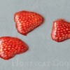Step 3 - Royal Icing Strawberry Slices, Painted on the Outside: Royal Icing Art and Photo by Honeycat Cookies
