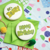 Stenciled Birthday Party Message Cookies: Cookies and Photo by Hillary Ramos, The Cookie Countess
