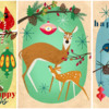 Mid-Century-Style Woodland Christmas Art: Art by Elisandra Sevenstar; Re-Posted to Cookie Connection with Artist's Permission