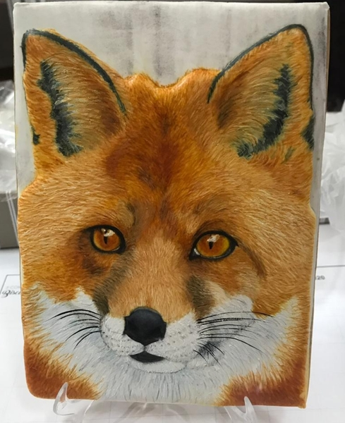 #6 - Red Fox Painted Cookie by Elke Hoelzle