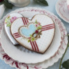 A Color Variation on the Striped Heart!: Cookie and Photo by Julia M Usher; Stencils Designed by Julia M Usher with Confection Couture Stencils