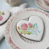 Simple Rose Cookie, A Closer Look!: Cookie and Photo by Julia M Usher; Stencils Designed by Julia M Usher with Confection Couture Stencils