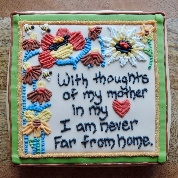 Thoughts of My Mother - Crewel Flowers Plaque Close-up