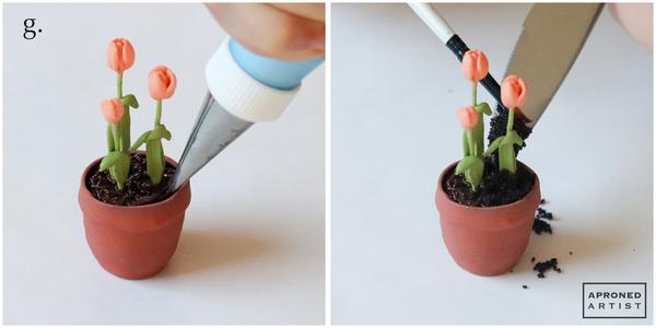 Step 2g - Add Dirt to Flowerpot